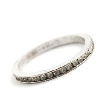Vintage Genuine Art Deco Sterling Silver Channel Ring -  Size 9 Clear Rhinestone Glass Stones 1930s Jewelry / Signed Uncas