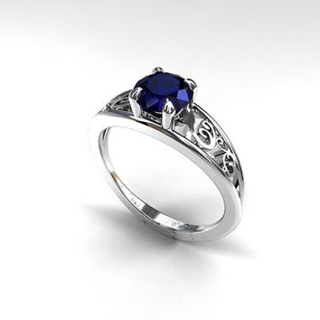 1.41ct Blue sapphire ring, white gold, engagement ring, filigree, lace engagement, solitaire, sapphire engagement, blue, wedding ring