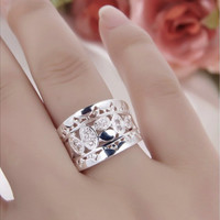 Women New Fashion Natural Crystal 925 Solid Sterling Silver Ring Size 7 8
