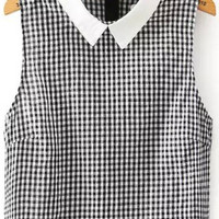 Black and White Collar Plaid Sleeveless Crop Top
