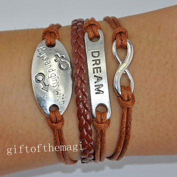 infinity karma,boys and girls with, &dream Charm Bracelet Antique silver-- wax cords braid Leather bracelet--the best friendship gift 623