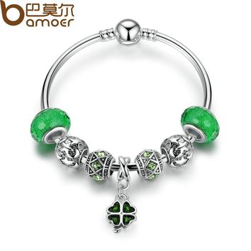Silver Green Clover Pendant Charms Bracelet & Bangle with Women Lucky Jewelry 17CM 19CM PA3079