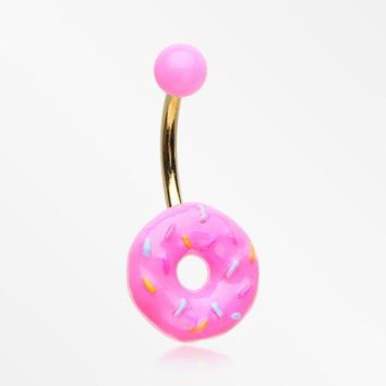 Sweet Pink Frost Sprinkled Donut Non Dangle Belly Button Ring