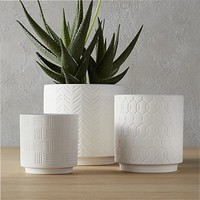 3-piece white loom planter set
