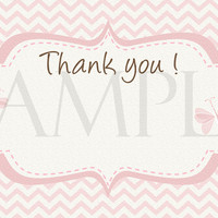 Butterfly Thank you card. Birthdays and Baby showers. Digital File