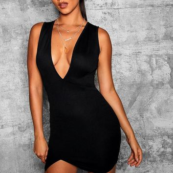 Deep Plunge Wrap Thigh Split Bodycon Dress | Boohoo