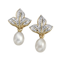 Genuine Freshwater Pearl and Diamond Accent Earrings