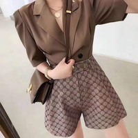"""Gucci"" Women Fashion Retro Edgy V-Neck Short Sleeve Jacket Buttons Shorts Two-Piece Suit"