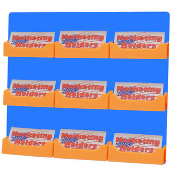 9 Orange Pocket Horizontal Blue Wall Mount Business Card Holder