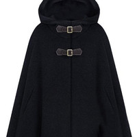 ROMWE | Single Breast Black Hoody Cape, The Latest Street Fashion