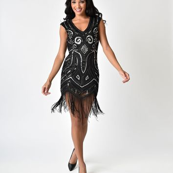Black & Silver Sequin Cap Sleeve Fringe Flapper-Style Cocktail Dress