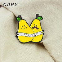 GDHY PERFECT Pear Fruits Brooch Two Cute yellow Pears Father Son Enamel Pin Backpack Hat For Kids Friends Family Badge Jewelry