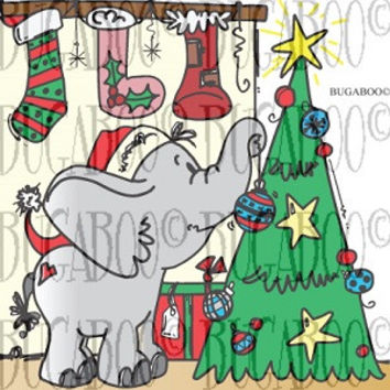 Elephant Christmas Tree Rubber Stamp Set [00-802P7]