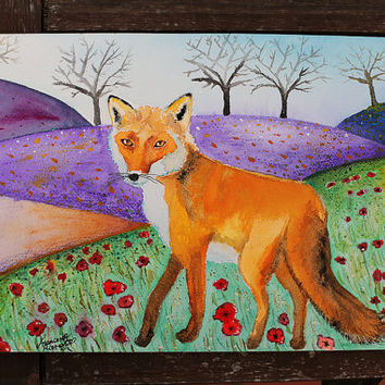 Original Watercolor, Watercolor Fox, Fox Painting, Fox Illustration, Wildlife Art, Animal Painting, Nature, Flowers, Poppy, Hills, Country