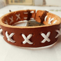 Graduation Gift Cool light Brown Cross Cotton Rope Soft Leather cuff Adjustable Bracelet C-30