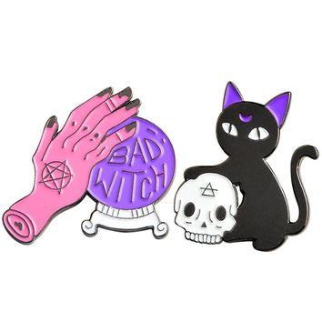 New Fashion Evil Witch Pin Crystal Ball Witch Hands Cool Black Cat Skull Head Pin Set Enamel Hard Pin Halloween Jewelry
