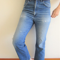Vintage 70s High Waist Straight Leg Cropped Super Distressed Boyriend Denim Jeans