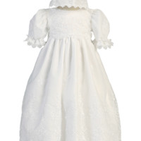Damask Embroidery, Scallops & Lace White Organza Christening Gown (Baby Girls Newborn - 18 months)
