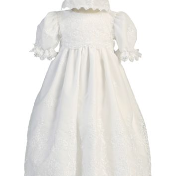 Damask Embroidery Lace Organza Christening Gown w. Scallops Baby Girls 0-18M