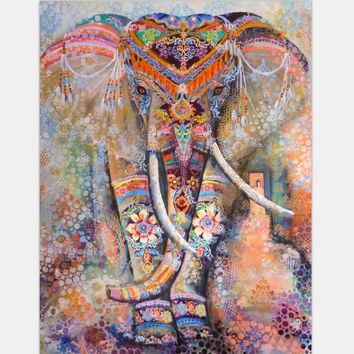 Oil Printing Indian Mandala Square Elephant Blanket
