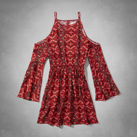 Pattern Open Shoulder Boho Dress