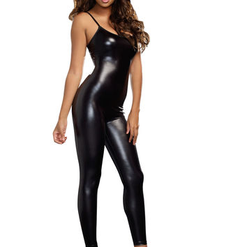 Black Wet Look Liquid Unitard (Medium/Large,Black)