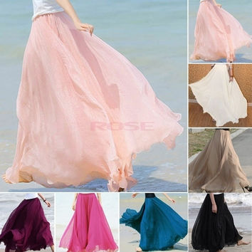 New Maxi Long Bohemian Restore Women Shinning Chiffon Long Skirt 7 Colors 14273 One Size [7896976263]