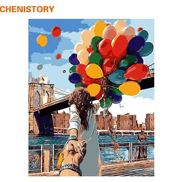CHENISTORY Romantic Lover Balloon DIY Painting By Numbers Modern Wall Art Home Decor HandPainted Picture For Wedding Decoration