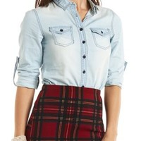 Top-Stitched Button-Up Chambray Top - Lt Wash Denim