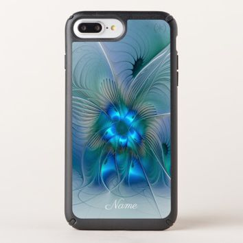Standing Ovations, Blue Turquoise Fractal Art Name Speck iPhone Case