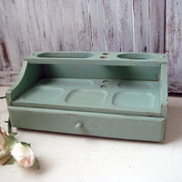 Blue Vintage Dresser Valet, Duck Egg Blue Distressed Wooden Jewelry Valet, Dresser Organizer, Cottage Chic, Gift Ideas