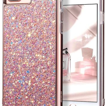 CREYRQ5 iPhone 7 Plus Case,iPhone 6 Plus Case,ESR Glitter Sparkle Dual Layer Shockproof Hard PC Back[Support Wireless Charging]+TPU Inner Shell for 5.5' iPhone 7 Plus/6 Plus(Rose Gold)