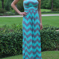 Slinky Chevron Maxi Dress - Mint/Gray