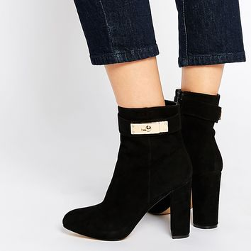 River Island Black Lock Heeled Boots
