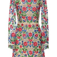 Multi Colored Embroidery Flower Dress On Organza by Vilshenko for Preorder on Moda Operandi