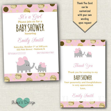Pink and Gold Baby Shower Invitation - Elephant Invitation - Elephant Baby Shower - Girl Baby Shower - Gold Glitter Invitation - Baby Girl