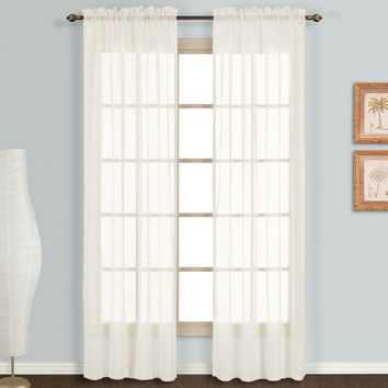 Sheer Panel Curtains  59 x 63 Platinum Voile White