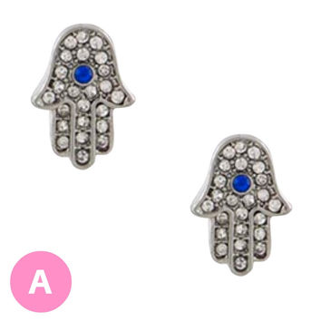 Hamsa Evil Eye Crystal Earrings