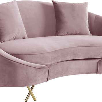 Serpentine Pink Velvet Loveseat