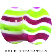 0 Gauge Purple Green White Wavy Stripes Acrylic Saddle Plug | Body Candy Body Jewelry