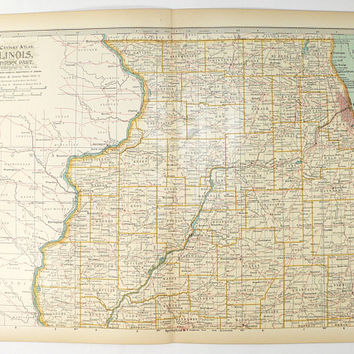 Vintage Map Illinois, Northern IL Map, Chicago Illinois Map 1899 Century Illinois Map, Unique Wedding Gift for Couple, Illinois Office Decor
