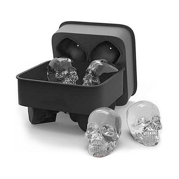 3D Skull Ice Cube Mold Maker Kitchen Silicone Chocolate Tray Cake Candy Mould Bar Party Cool Whiskey Wine Ice Cream Tools
