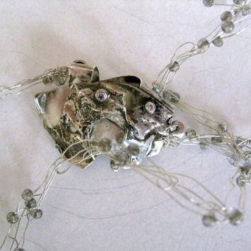 Gray Chrysocolla stones bubble silver necklace - wire wrapped with beautifull silver clasp-OOAK chain-Bubble and Bib beadwork Bohemian