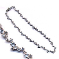 Rhodium Plated Sterling Silver, CZ Necklace With Safety Lock, 16""