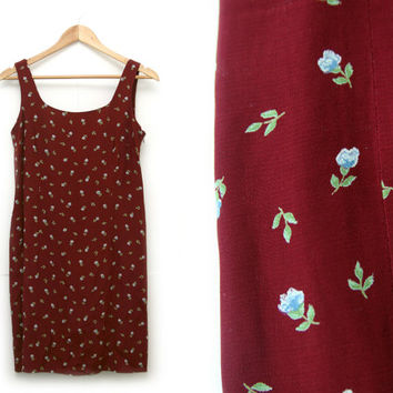Vintage Floral Dress~Size Large~90s Shift Maroon Red Blue White Green Flower Dress~By Jacob