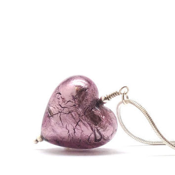 Necklace, Heart, Purple Murano Glass, in Sterling Silver