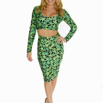 Marijuana Print Crop Top And Pencil Skirt Combo