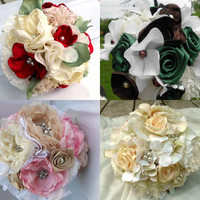 Custom Fabric Flower Bouquet, Bridal, Wedding, You Choose Colors, Fabric, and Flowers 8""