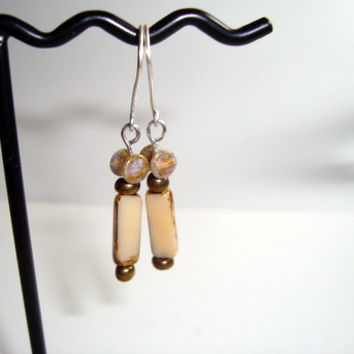Czech Glass Beaded Earrings on Sterling Silver Ear Wires - Shades of Beige and Bronze - handmade Design - Fun Earrings for Casual Wear