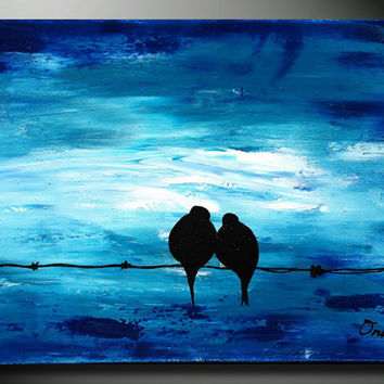 Love Birds on a wire - Original Painting, Wedding Romantic Gift, Acrylic on canvas landscape painting, heavy texture, impasto pallete knife
